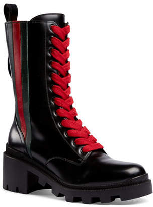 Gucci Trip Mid-Calf Combat Boots