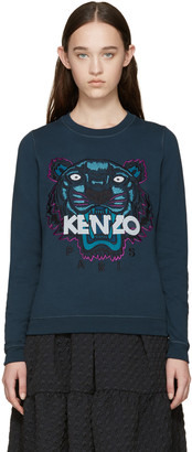 Kenzo Blue Embroidered Tiger Sweatshirt $260 thestylecure.com