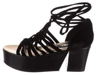 Chanel Velvet Platform Sandals