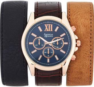 N. American Exchange AMIN5114R100 Rose Gold-Tone Watch & Interchangeable Strap Set
