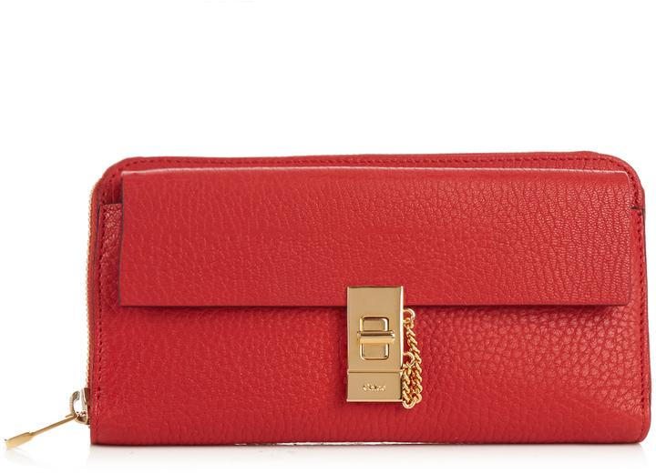 Chloé CHLOÉ Drew grained-leather wallet