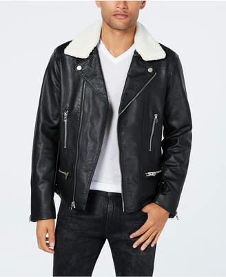Reason Men's Moto Jacket with Fleece-Lined Collar