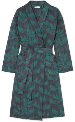 Desmond & Dempsey - Byron Printed Quilted Cotton Robe - Emerald
