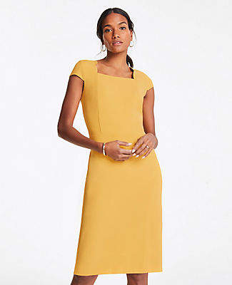 Ann Taylor Tall Scalloped Square Neck Cap Sheath Dress