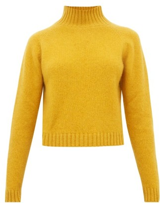 The Elder Statesman Highland Cropped Cashmere Sweater - Womens - Yellow