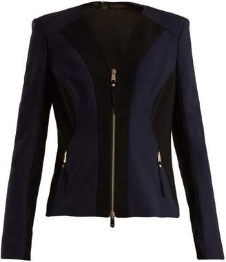 Versace V-neck contrast-panel stretch-crepe jacket