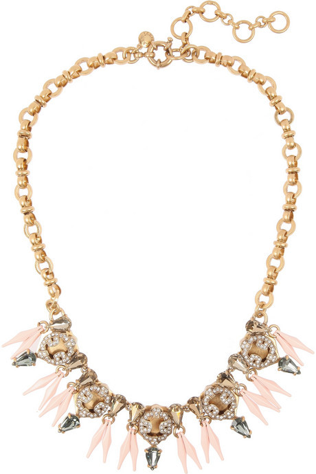 J.Crew Ornate gold-tone crystal necklace