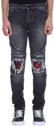 Marcelo Burlon County of Milan Biker Skull Black Denim Jeans
