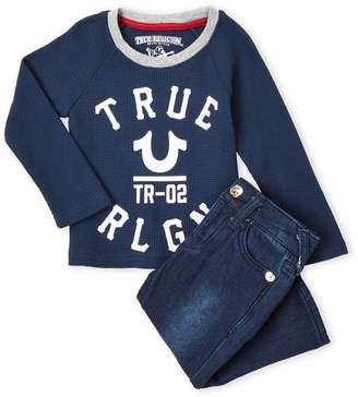 True Religion Infant Boys) Two-Piece Logo Thermal Top & Jeans Set