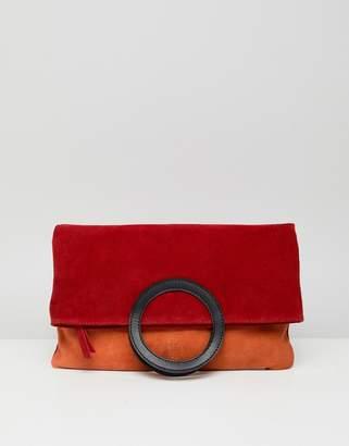Asos Design DESIGN suede color block foldover shopper clutch bag