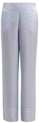 Asceno - Polka Dot Silk Satin Pyjama Bottoms - Womens - Light Blue