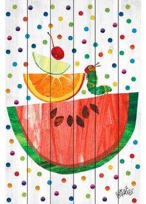 Eric Carle Watermelon and Caterpillar Art Print on White Pine Wood