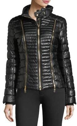 Bogner Sport Carine Faux-Leather Quilted Puffer Coat w/ Zips