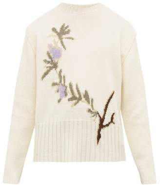 Jacquemus Rosemary Jacquard Wool Blend Sweater - Mens - White