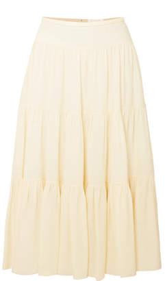 Chloé Tiered Cady Midi Skirt - Ivory