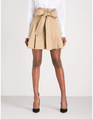 at Selfridges Alexander McQueen Paper bag-waist wide cropped high-rise  cotton shorts