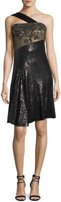 Neiman Marcus Rubin Singer One-Shoulder Sequined Cocktail Dress
