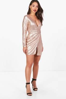 boohoo Boutique Sequin Wrap Bodycon Dress