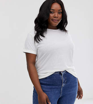 Asos DESIGN Curve t-shirt with roll sleeve in linen mix in white
