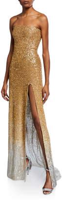 Oscar de la Renta Strapless Ombre Sequined Gown