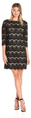 Jessica Howard Women's 3/4 Sleeve Shift Lace Dress $89 thestylecure.com