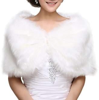 Chickle Women's Cape Cloak Winter Warm Bridal Wedding Shawl White