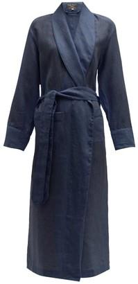 Emma Willis Belted Linen Robe - Womens - Navy