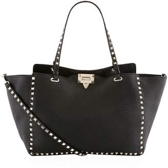 Valentino Medium Grained Leather Rockstud Tote