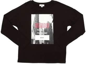 DKNY Logo Printed Cotton Interlock T-Shirt