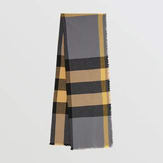 Burberry Fringed Check Wool Cashmere Scarf, Grey