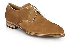 Corthay Men's Sergio Pullman Calf Suede Piped Derby Shoes