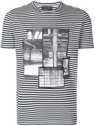 Diesel Black Gold stripe patchwork T-shirt