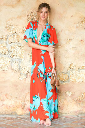 On The Road Kimono Sleeve Maxi Dress Red Multi XS