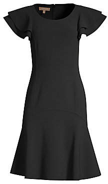 Michael Kors Women's Stretch-Wool Flutter Sleeve Flare Dress