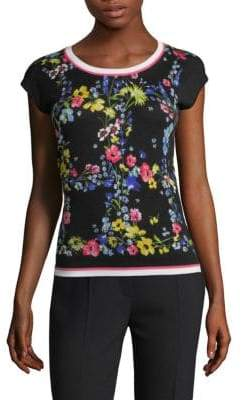 Escada Skan Floral Silk-Wool Top