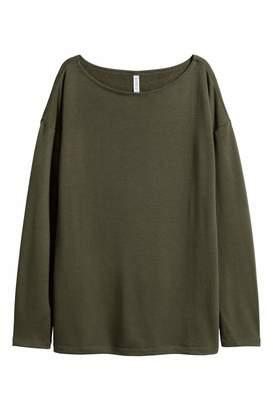 H&M Long-sleeved Jersey Top - Dark green - Women