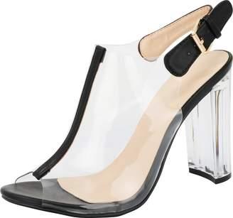6c0063527677b6 clear Top Moda Fenton 1 Womens Chunky Heel Peep Toe Lucite Sandals 6.5