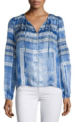 Parker Persimmon Split-Neck Printed Blouse, Olympos $255 thestylecure.com