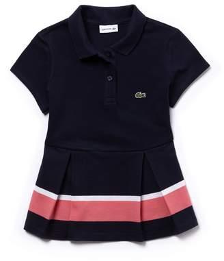 Lacoste Girls' Pleated Colorblock Petit Pique Polo