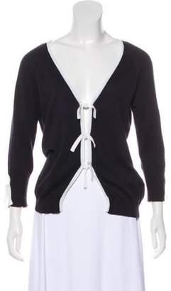 Valentino Tie-Accented Knit Cardigan Navy Tie-Accented Knit Cardigan