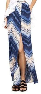 BCBGeneration Shibori Tie-Front Chevron Maxi Skirt