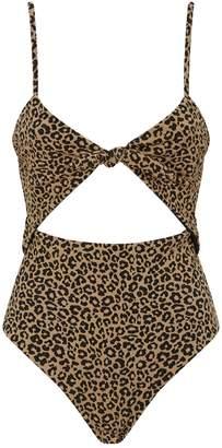 Mara Hoffman Kia Leopard Print Cut Out Swimsuit