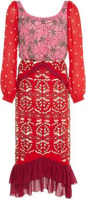 Saloni Ruffled Embellished Silk-Chiffon Midi Dress