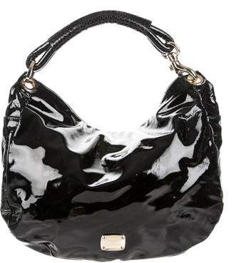 Jimmy Choo Snakeskin-Accented Patent Leather Hobo