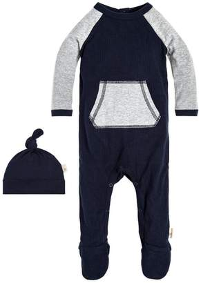 Burt's Bees Raglan Footed Organic Baby Cotton One Piece Jumpsuit & Hat Set