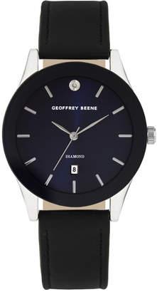 Geoffrey Beene Navy Dial Smooth Black Strap Genuine Diamond Watch