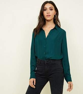 New Look Dark Green Satin Long Sleeve Shirt