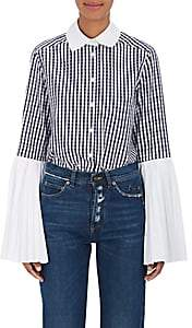 Monographie Women's Pleated-Sleeve Gingham Cotton Blouse-Navy Check