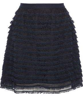 RED Valentino Picot-Trimmed Tiered Tulle Mini Skirt
