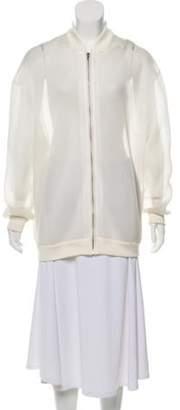 Stella McCartney Mesh Bomber Jacket White Mesh Bomber Jacket